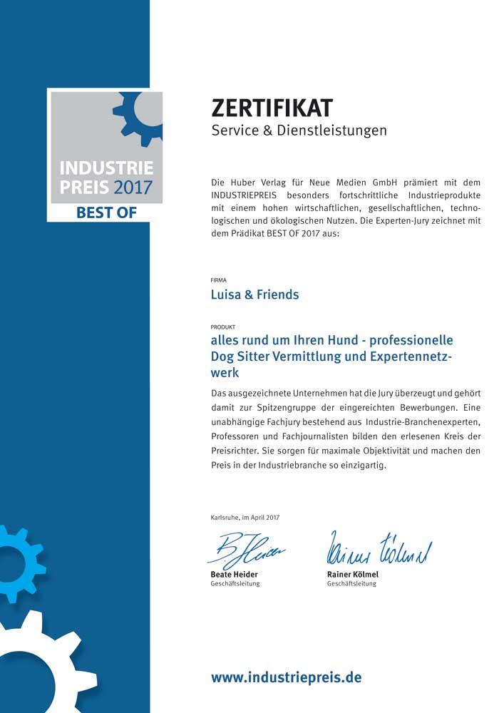 Industriepreis Zertifikat